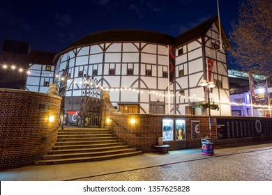 London, UK - April 1st 2019: A view of the reconstruction of the historic Globe Theatre - an Elizabethan playhouse associated with William Shakespeare, in London, UK.