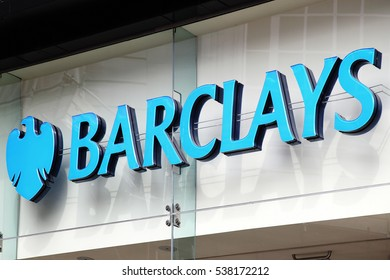 London, UK, April 2, 2011 :  Barclays bank advertising sign outside one of their retail branches in London city centre