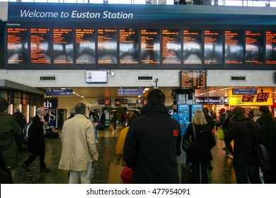 LONDON, UK - APRIL 20, 2012 : busy morning with crowd people at London Euston train station