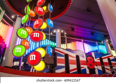 London, Uk- April 20, 2013: Sign of M&M's store in London. M&M's World London. The store measures 35,000 square feet and is spread over 4 floors.