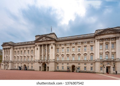 London, UK - April 20, 2019: The outside of Buckingham Palace in London showing the Main Palace.