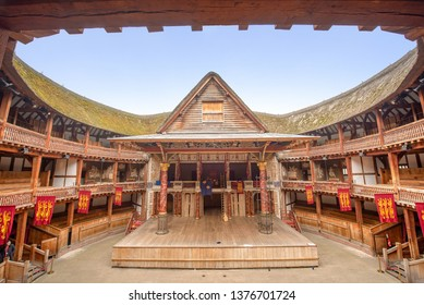 London, UK – April 20, 2019 : The Globe Theater is a popular visitor attraction in the city of London