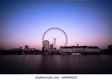 LONDON, UK (April 2017) The London Eye from across The Thames (08/04/17)