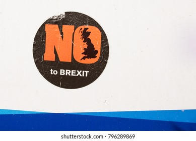 London, UK - April 2017. Sticker against the exit of UK from EU with words No to brexit on it. London, England, UK