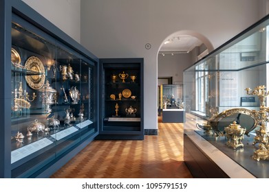 London, UK – April 2018: British silver and gold exhibited at the Rosalinde and Arthur Gilbert Galleries in Victoria and Albert Museum