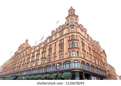 London, UK - April 2018: Exterior building of Harrods, luxury department store dedicated to the finest products in food, fashion, homeware and technology, located on Brompton Road in Knightsbridge