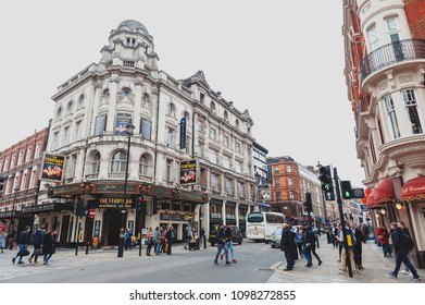 London, UK - April 2018: The Gielgud Theatre (Hicks Theatre and Globe Theatre), a West End theatre on Shaftesbury Avenue in the City of Westminster performing many notable productions since 1906