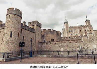 London, UK - April 2018: Her Majesty's Royal Palace and Fortress of the Tower of London, a historic castle and popular tourist attraction on the north bank of the River Thames in central London