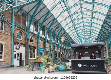 London, UK - April 2018: Interior of Covent Garden Market, a place for fashionable retail stores and dining on popular tourist site surrounded by historical buildings, theatres and entertainment