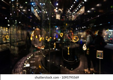 London, UK – April 2018: jewellery exhibition at The William and Judith Bollinger Gallery in Victoria and Albert Museum