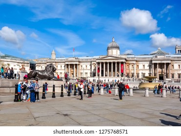 London, UK - April 2018: National Gallery on Trafalgar square
