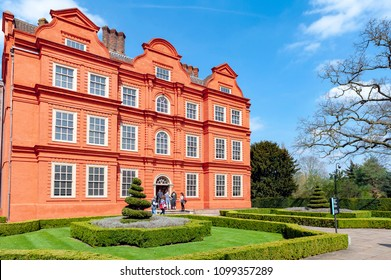 London, UK - April 2018: Old classic building of the Dutch House, one of the few surviving parts of the Kew Palace complex, located in Kew Gardens on the banks of the Thames up river from London