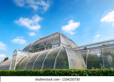 London, UK - April 2018: Palm House, Victorian glasshouse recreating rainforest climate for the exhibition of tropical plants from tropical regions of the world