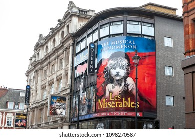 London, UK - April 2018: Queens Theatre, West End theatre located in Shaftesbury Avenue  in City of Westminster performing several notable productions since 1907 including the current Les Misérables