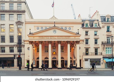 London, UK - April 2018: Theatre Royal Haymarket, a West End theatre and the third-oldest London playhouse still in use since 1720, located on Haymarket street in the City of Westminster