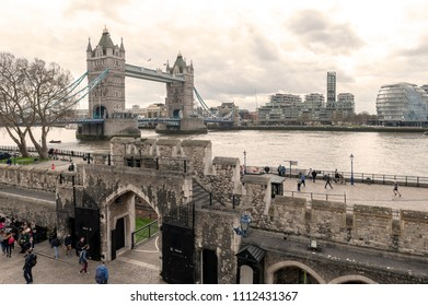 London, UK - April 2018: Tower Bridge, a bascule and suspension bridge with twin towers crossing the River Thames which becomes an iconic landmark and major tourist attraction of London, England