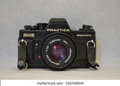 LONDON – UK: April 2019: Praktica BMS Eletronic 35MM Film Camera