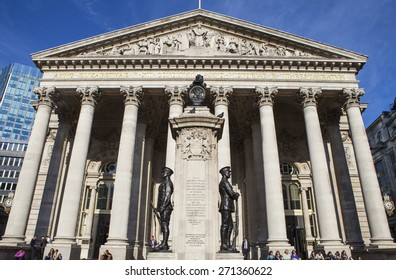 LONDON, UK - APRIL 20TH 2015: A view of the exterior of the Royal Exchange building in the City of London on 20th April 2015.