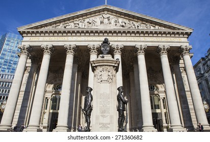 LONDON, UK - APRIL 20TH 2015: A view of the Royal Exchange building in the City of London on 20th April 2015.