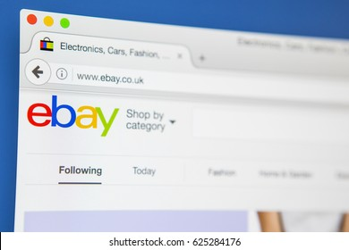 LONDON, UK - APRIL 20TH 2017: The homepage of the official website for Ebay, the online auction and sales website, on 20th April 2017.