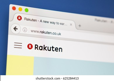 LONDON, UK - APRIL 20TH 2017: The homepage of the official Rakuten website, the Japanese online electronic commerce company, on 20th April 2017.