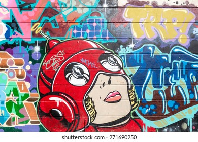 LONDON, UK - APRIL 21, 2015: Shoreditch, in the heart of the trendy East End of London, has become synonymous with the UK street art scene, attracting visitors from all over the world.