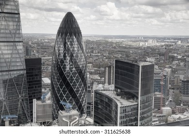 LONDON, UK - APRIL 22, 2015: City of London view. Panoramic view from the 32 floor of London's skyscraper