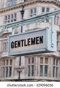 LONDON, UK - APRIL 22, 2015: Gentlemen sign at City of London street.