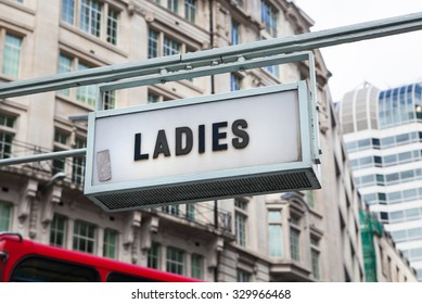 LONDON, UK - APRIL 22, 2015: Ladies sign at City of London street.