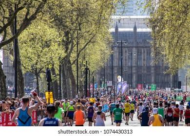 London / UK - APRIL 22 2018: London Marathon 2018, last miles to finish