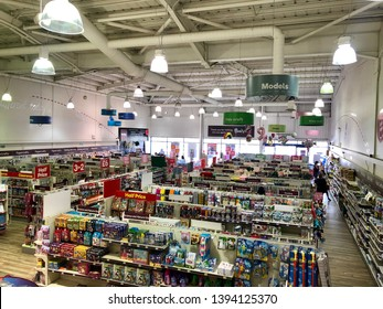 LONDON, UK - APRIL 22, 2019: Customers inside Hobbycraft arts and crafts superstore retail chain in London, UK.