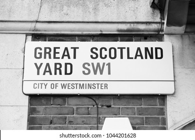 LONDON, UK - APRIL 23, 2016: Great Scotland Yard street sign in London, UK. London is the most populous city in the UK with 13 million people living in its metro area.