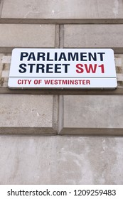 LONDON, UK - APRIL 23, 2016: Parliament street sign in London, UK. London is the most populous city in the UK with 13 million people living in its metro area.