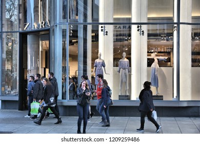 LONDON, UK - APRIL 23, 2016: People shop at Zara, Oxford Street in London. Oxford Street has approximately half a million daily visitors and 320 stores.