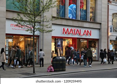 LONDON, UK - APRIL 23, 2016: People shop at Matalan store, Oxford Street in London. Oxford Street has approximately half a million daily visitors and 320 stores.