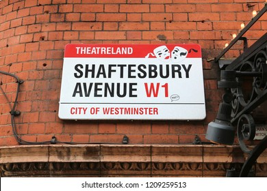 LONDON, UK - APRIL 23, 2016: Shaftesbury Avenue street sign in West End theatre district of London. It is the most populous city in the UK with 13 million people living in its metro area.