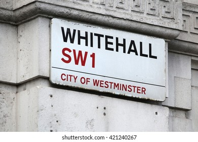 LONDON, UK - APRIL 23, 2016: Whitehall street sign in London, UK. London is the most populous city in the UK with 13 million people living in its metro area.