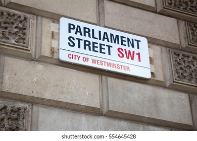LONDON, UK - APRIL 23, 2016: Parliament Street sign in London, UK. Parliament Street is an extension of Whitehall, central street for Her Majesty's Government.