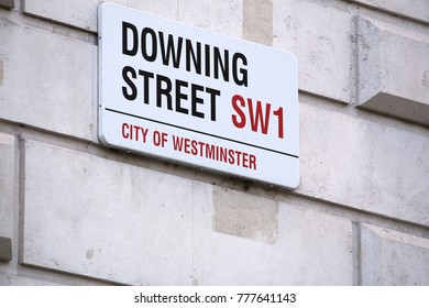 LONDON, UK - APRIL 23, 2016: Downing Street sign in London, UK. 10 Downing Street is the office of British Prime Minister.