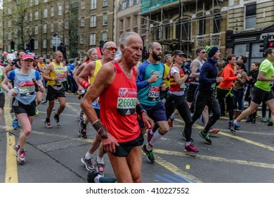 London, UK - April 24, 2016: The London Marathon is a huge annual sporting event and attracts around 30,000 runners, most raising money for charity.