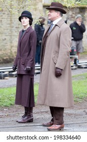LONDON, UK - APRIL 24:Cast of Downton Abbey are spotted filming scenes in London on the April, 2014 in London, UK