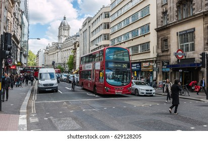 LONDON, UK - APRIL 25, 2017: Midday traffic on the High Holborn street in central London