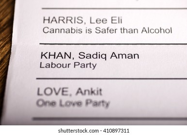 LONDON, UK - APRIL 25TH 2016: Sadiq Khan on a ballot paper for the Mayor of London Election, taken on 25th April 2016.  Sadiq Khan is the Labour Party candidate for the 2016 London Mayoral election.