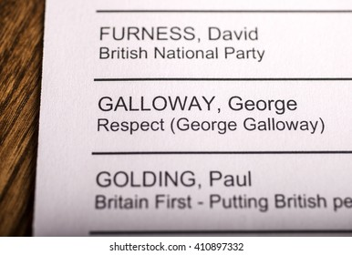 LONDON, UK - APRIL 25TH 2016: George Galloway on a ballot paper for the Mayor of London Election, taken on 25th April 2016.  Galloway is the Respect Party candidate for the 2016 London Mayor election.