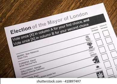 LONDON, UK - APRIL 25TH 2016: A Ballot Paper for Mayor of London Election, taken on 25th April 2016.
