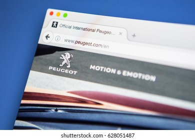 LONDON, UK - APRIL 25TH 2017: The homepage of the official website for Peugeot, the French car manufacturer, on 25th April 2017.