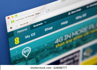 LONDON, UK - APRIL 25TH 2017: The homepage of the official website for EE, the British mobile network operator, on 25th April 2017.