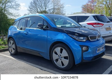 London, UK - April 26, 2018: A BMW i3 electric car sits parked on a street. The i3 is BMW's first zero emissions mass produced electric vehicle with global sales surpassing 98,000 cars in 2017.