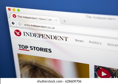 LONDON, UK - APRIL 26TH 2017: The homepage for the official website of The Independent, the British online newspaper, on 26th April 2017.  The printed edition of the paper ceased in March 2016.