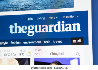 LONDON, UK - APRIL 26TH 2017: The homepage for the official website of the Guardian, the British daily newspaper, on 26th April 2017.